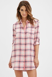Forever 21 Metallic Plaid Nightdress Pink Navy
