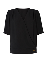 Biba Button Detail Simple Blouse Black
