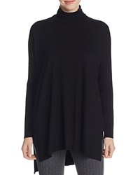 Eileen Fisher High Low Turtleneck Tunic Black