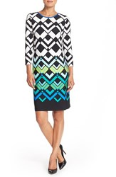 Petite Women's Eliza J Geometric Print Jersey Shift Dress