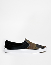 Pullandbear Slip On Plimsolls In Camo Black