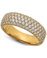 Crislu 18K Gold Over Sterling Silver Cubic Zirconia Pave Ring