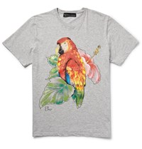 Etro Slim Fit Hand Painted Cotton Jersey T Shirt Gray