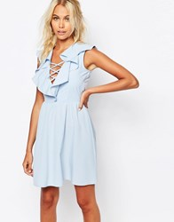 Fashion Union Dress With Ruffles And Lace Up Pale Blue