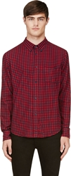 Band Of Outsiders Red And Navy Flannel Gingham Shirt