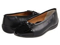 Ara Bella Black Leather W Patent Toe Women's Dress Flat Shoes