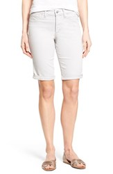 Women's Nydj 'Brielle' Roll Cuff Stretch Twill Shorts Pearl Grey