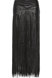 Blk Dnm Fringed Leather Maxi Skirt