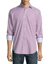 Neiman Marcus Long Sleeve Plaid Woven Sport Shirt Red