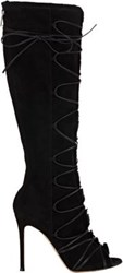 Gianvito Rossi Women's Fur Trimmed Lace Up Knee Boots Black Size 7.5