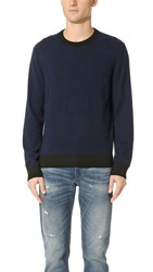 Club Monaco Synth Trim Crew Sweater Navy Black