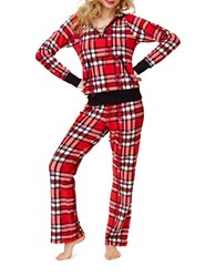 Betsey Johnson Microfleece Plaid Two Piece Long Sleeve Hoodie And Pajama Pants Set Red