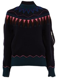 Sacai Fair Isle Knitted Jumper Blue