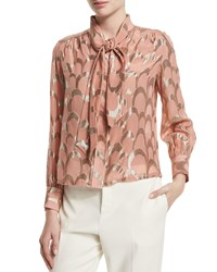 Creatures Of The Wind Long Sleeve Metallic Applique Blouse Pink Gold