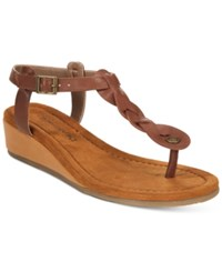 Bearpaw Gia T Strap Wedge Sandals Women's Shoes Cognac