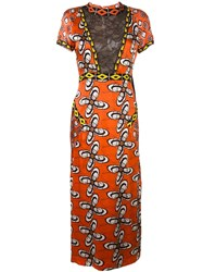Wunderkind 'African Wax' Print Lace Effect Dress Yellow Orange