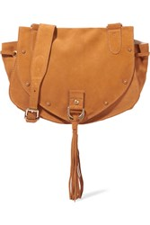 See By Chloe Collins Medium Suede And Textured Leather Shoulder Bag Tan