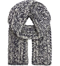 Richard James Knitted Wool Scarf Navy