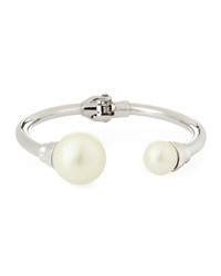 Lydell Nyc Pearly Cap Silvertone Bangle Bracelet