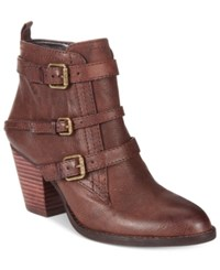 Nine West Fitz Buckle Block Heel Booties Women's Shoes Brown Leather