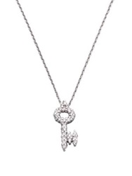 Roberto Coin Tiny Treasures Diamond And 18K White Gold Key Pendant Necklace No Color
