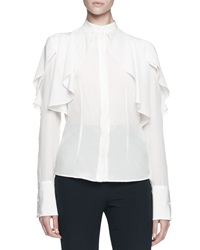 Alexander Mcqueen Long Sleeve Draped Ruffle Blouse