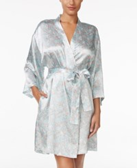 Thalia Sodi Printed Satin Wrap Robe Only At Macy's Floating Leaves