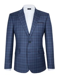 Paul Costelloe Prince Of Wales Check Blazer Blue