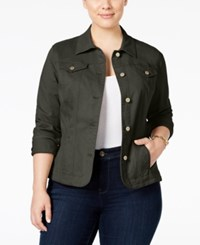Charter Club Plus Size Twill Denim Jacket Only At Macy's Autumn Sage