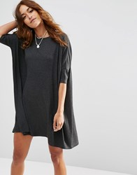 Asos T Shirt Dress In Rib Charcoal Grey