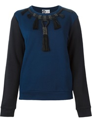 Lanvin Colour Block Embellished Sweatshirt Blue