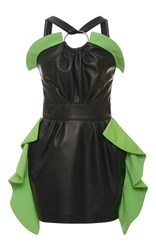 Ungaro Emanuel Halter Ruffle Leather Mini Dress Black