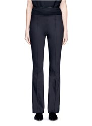 The Row 'Becaro' Seamed Techno Fabric Flared Pants Black
