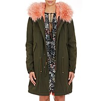 Mr And Mrs Italy Women's Canvas Fur Trimmed Parka Green Pink No Color Green Pink No Color