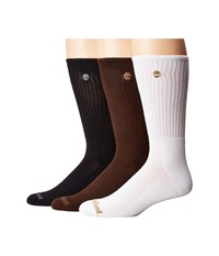 Timberland Classic 3 Pack Boot Crew Socks White Black Brown Men's Crew Cut Socks Shoes