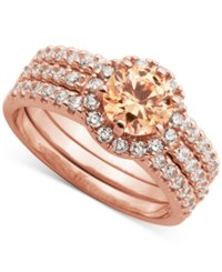 Giani Bernini Champagne And Clear Cubic Zirconia Stack Look Halo Ring In 18K Rose Gold Plated Sterling Silver