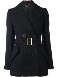 Burberry Double Breasted Belted Jacket Black
