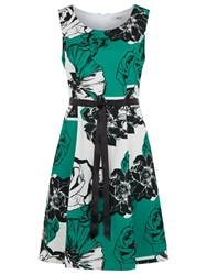 Precis Petite Floral Stripe Prom Dress Green