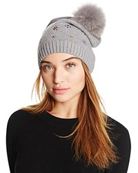 Aqua Slouchy Knit Hat With Fox Fur Pom Pom And Floral Studs Gray