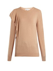 Elizabeth And James Orly Ruffled Trim Sweater Camel