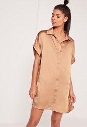 Missguided Satin Short Sleeve Shirt Dress Nude Beige