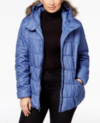 Columbia Plus Size Sparks Lake Faux Fur Trim Puffer Jacket Bluebell