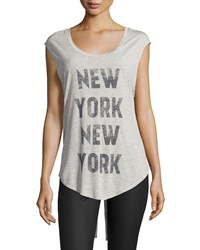 Haute Hippie New York Split Back Muscle Tee Light Gray Coal