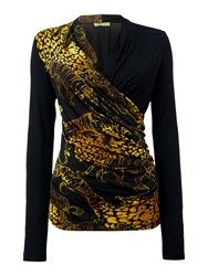 Versace Jeans Leopard Cross Body Drape T Shirt Black