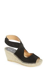 Women's Bettye Muller 'Mobile' Leather Wedge Espadrille Sandal Black Suede
