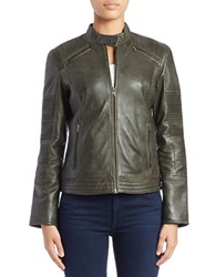 7 For All Mankind Moto Leather Jacket Olive