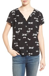 Women's Hinge Print Split Neck Top Black Dragonfly Dots