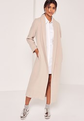 Missguided Shawl Collar Faux Wool Maxi Coat Nude Stone