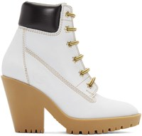 Maison Martin Margiela Off White Suede Lace Up Boots