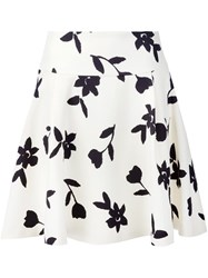 Carolina Herrera Floral Print Full Skirt White